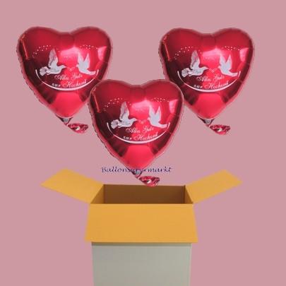 ballonsupermarkt alles gute zur hochzeit 3 luftballons aus folie mit helium. Black Bedroom Furniture Sets. Home Design Ideas