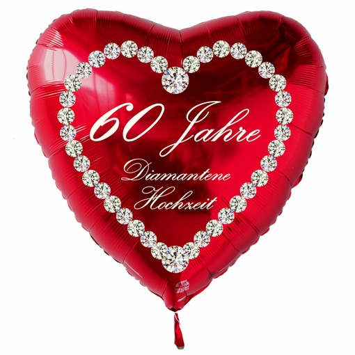 roter herzluftballon 60 jahre diamantene hochzeit folienballon inklusive helium. Black Bedroom Furniture Sets. Home Design Ideas