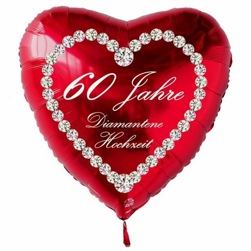 Ballonsupermarkt roter herzluftballon 60 jahre diamantene hochzeit - Dekoration diamantene hochzeit ...