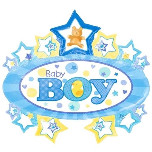 ballonsupermarkt baby boy gro er ovaler luftballon mit herzen aus folie es. Black Bedroom Furniture Sets. Home Design Ideas