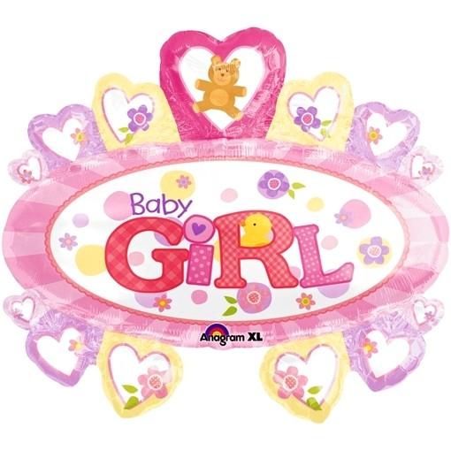 ballonsupermarkt baby girl gro er ovaler luftballon mit herzen aus folie es. Black Bedroom Furniture Sets. Home Design Ideas