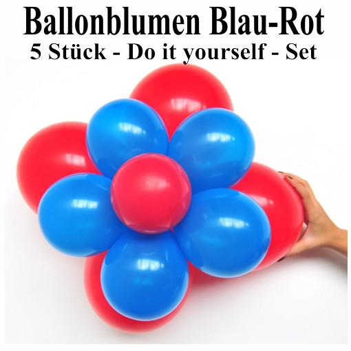 ballonsupermarkt ballonblumen set blumen aus luftballons blau rot 5 st ck. Black Bedroom Furniture Sets. Home Design Ideas