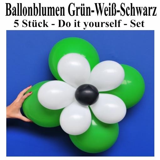 ballonsupermarkt ballonblumen set blumen aus luftballons gr n wei schwarz 5. Black Bedroom Furniture Sets. Home Design Ideas