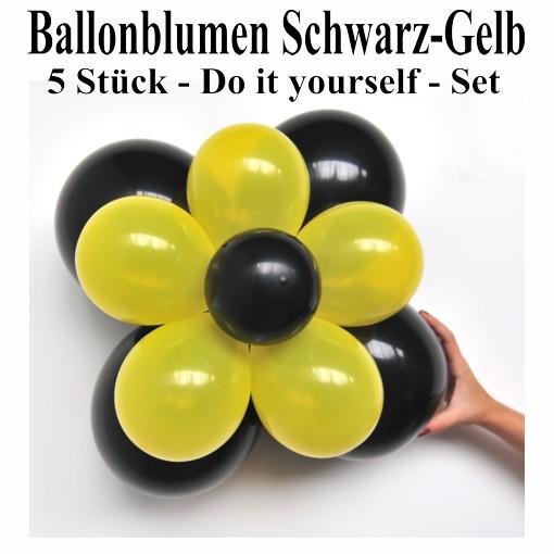 ballonsupermarkt ballonblumen set blumen aus luftballons schwarz gelb 5 st ck. Black Bedroom Furniture Sets. Home Design Ideas