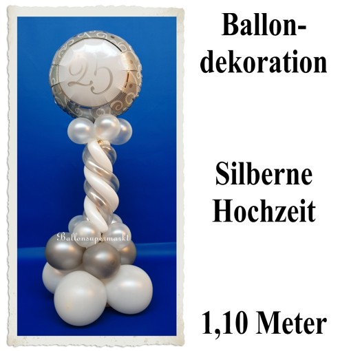 Ballondekoration 2 Silberne 25 Silberne Hochzeit Ballonsupermarkt