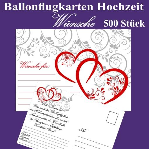 ballonflugkarten hochzeit w nsche f r das hochzeitspaar 500 postkarten zum anh ngen an. Black Bedroom Furniture Sets. Home Design Ideas