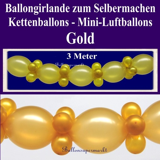 ballonsupermarkt goldene hochzeit dekoration ballongirlande zum selbermachen. Black Bedroom Furniture Sets. Home Design Ideas