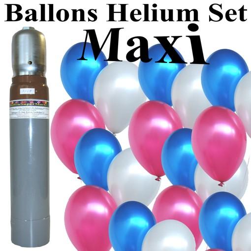 maxi set frankreich 100 luftballons metallic frankreich farben blau wei rot mit 10 liter helium. Black Bedroom Furniture Sets. Home Design Ideas
