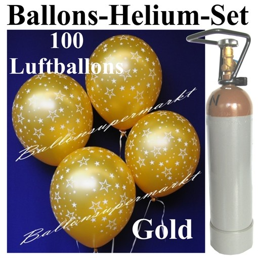 ballonsupermarkt ballons helium set 100 goldene luftballons mit sternen. Black Bedroom Furniture Sets. Home Design Ideas