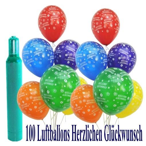 Maxi Set 6 100 Bunte Luftballons Geburtstag Herzlichen Glückwunsch
