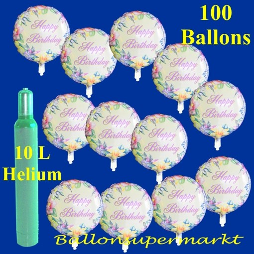 Maxi Set Geburtstag 100 Folienballons Happy Birthday Mit Helium