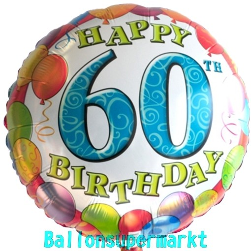 Geburtstag Ballongruesse Zahlenballon zum 60 Radiant mit Gas Ballons Luftballo
