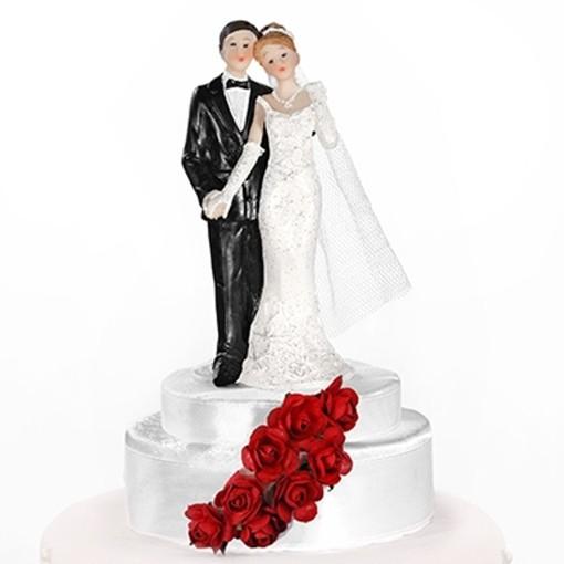 Hochzeitstorten Dekoration Hochzeitspaar Weiss Mit Roten Rosen