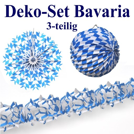 deko set bavaria oktoberfest dekoration blau wei bayrische rauten 3 teilig oktoberfest. Black Bedroom Furniture Sets. Home Design Ideas