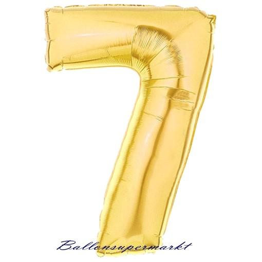 ballonsupermarkt zahlen luftballon aus folie 7 sieben gold 100 cm gro. Black Bedroom Furniture Sets. Home Design Ideas