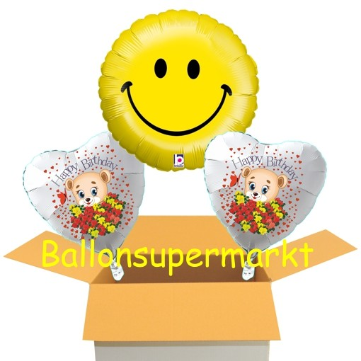 Geburtstag Smiley Mit Barchen Folienballons Mit Helium Im Karton