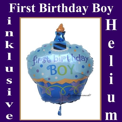 Folienballon First Birthday Boy Cupcake Mit Helium Zum 1 Geburtstag