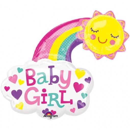 ballonsupermarkt luftballon baby girl gl ckliche sonne gro er folienballon mit. Black Bedroom Furniture Sets. Home Design Ideas