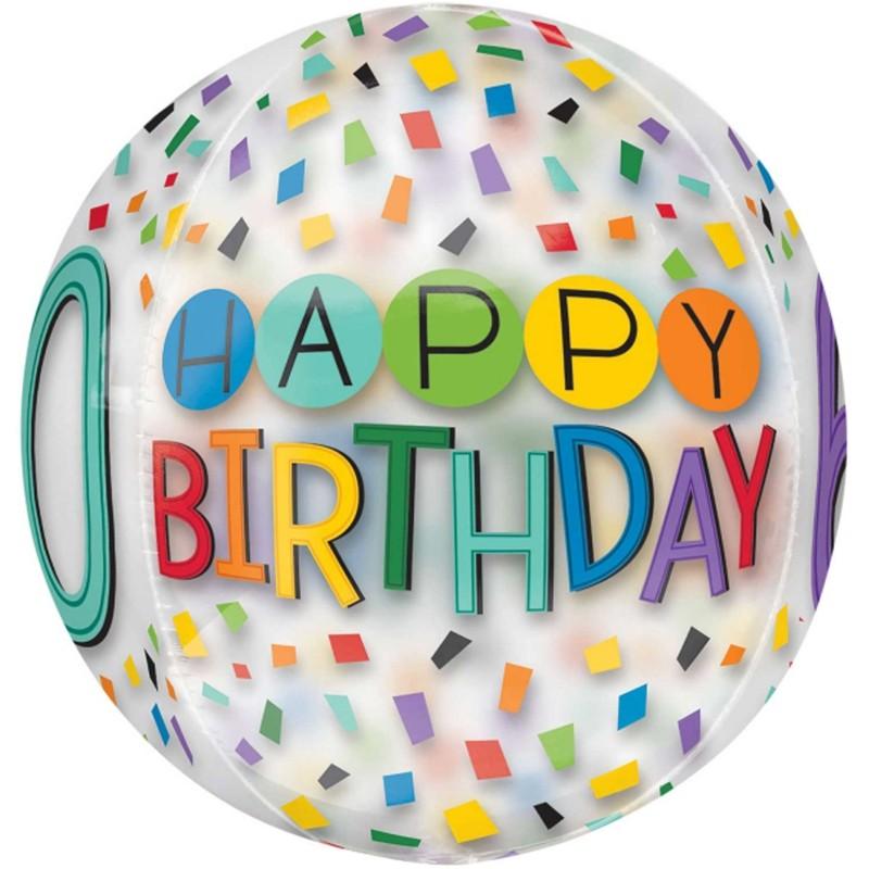 ... Folienballon Orbz, Happy Birthday Rainbow 60, Ohne Helium ...