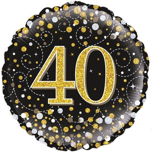 Holografischer Luftballon aus Folie, Sparkling Fizz Gold 40, Jubiläum,  Folienballon mit Helium