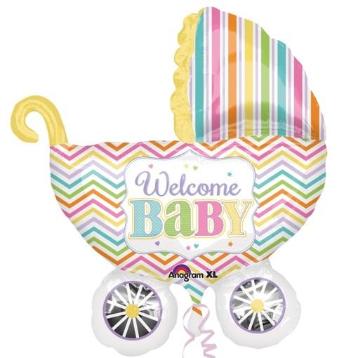 welcome baby kinderwagen gro er folienballon zu geburt taufe babyparty ohne helium. Black Bedroom Furniture Sets. Home Design Ideas