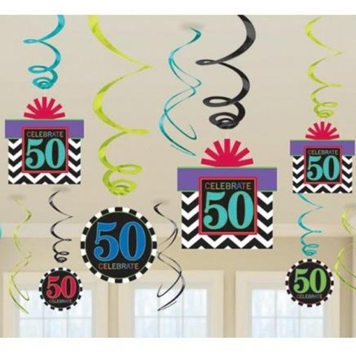 ballonsupermarkt geburtstag dekoration swirls celebrate 50 geburtstag 50. Black Bedroom Furniture Sets. Home Design Ideas