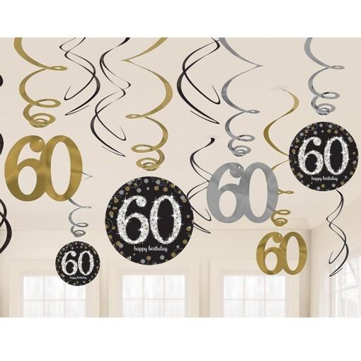 Ballonsupermarkt geburtstag dekoration swirls sparkling celebration 60 - 60 geburtstag dekoration ...