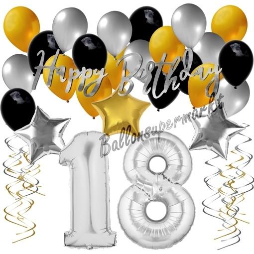 Kaskade zum 18 Geburtstag in gold silber Tisch Dekoration Geburtstagsdeko Party