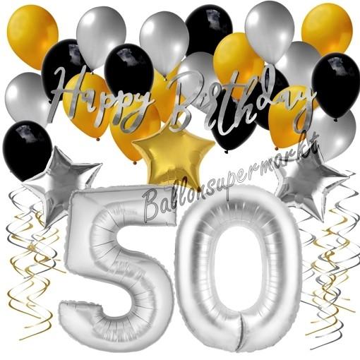 Luftballons 50 Wimpelkette Geburtstag gold schwarz silber Geburtstagsdeko Set