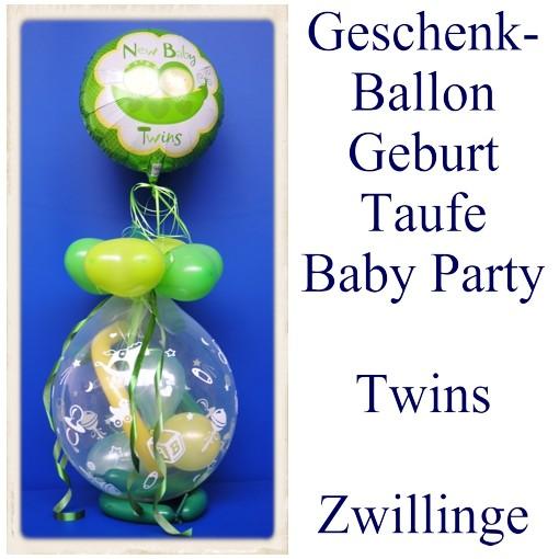 Geschenkballon Geburt Taufe Baby Party Twins Zwillinge