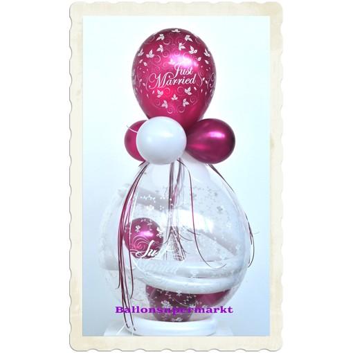 ballonsupermarkt geschenkballon hochzeit just married luftballon bordeaux. Black Bedroom Furniture Sets. Home Design Ideas