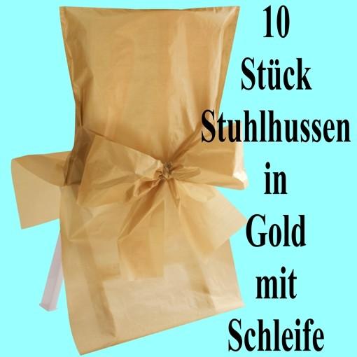 ballonsupermarkt 10 stuhlhussen gold mit schleife goldene hochzeit hochzeit. Black Bedroom Furniture Sets. Home Design Ideas