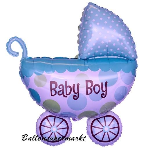 ballonsupermarkt baby boy kinderwagen gro er babywagen folienballon zu geburt. Black Bedroom Furniture Sets. Home Design Ideas