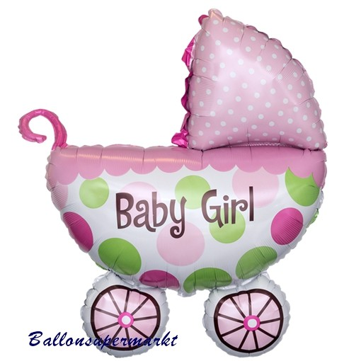 ballonsupermarkt luftballon baby girl kinderwagen gro er babywagen folienballon. Black Bedroom Furniture Sets. Home Design Ideas