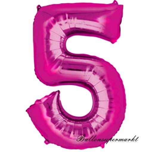 35cm Folieballon zum 5 Geburtstag Zahl 5 in Blume pink