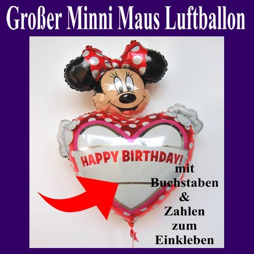 ballonsupermarkt happy birthday folienballon gro e minni maus mit buchstaben. Black Bedroom Furniture Sets. Home Design Ideas