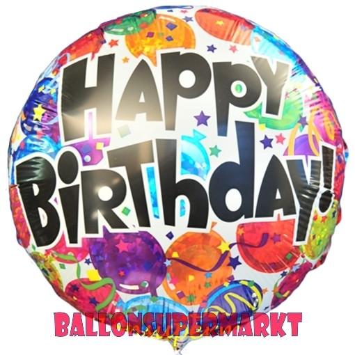 Geburtstags Luftballon Happy Birthday Balloons Holografisch Inklusive Helium
