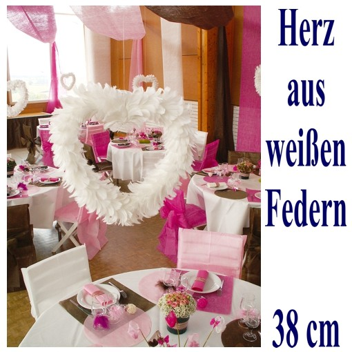 Herz Aus Federn Weiss Dekoration Hochzeit Ballonsupermarkt Onlineshop De