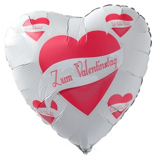 Zum Valentinstag, Weißer Herz Luftballon Aus Folie Mit Helium Ballongas,  Liebesgrüße, Ballongrüße ...