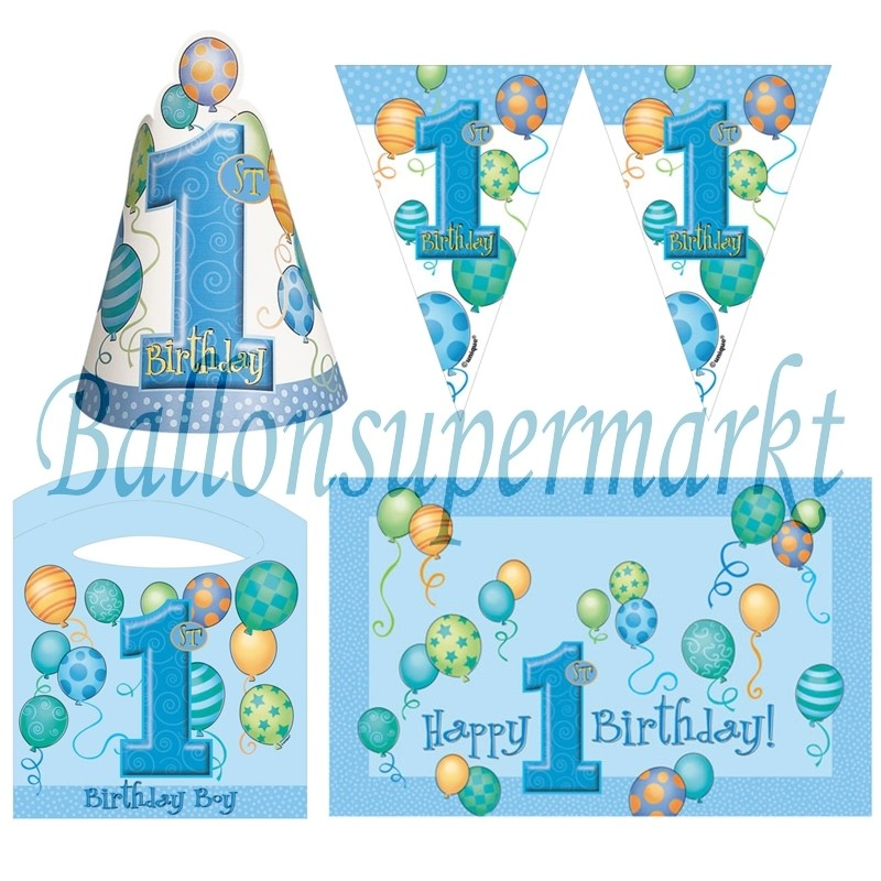 ballonsupermarkt hochstuhl dekorations set zum 1 geburtstag junge blue. Black Bedroom Furniture Sets. Home Design Ideas