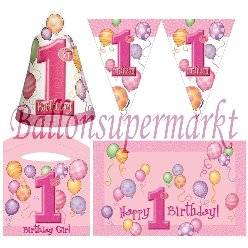 ballonsupermarkt hochstuhl dekorations set zum 1 geburtstag m dchen pink. Black Bedroom Furniture Sets. Home Design Ideas
