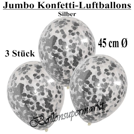jumbo konfetti ballons transparent gef llt mit konfetti in silber ballonsupermarkt. Black Bedroom Furniture Sets. Home Design Ideas