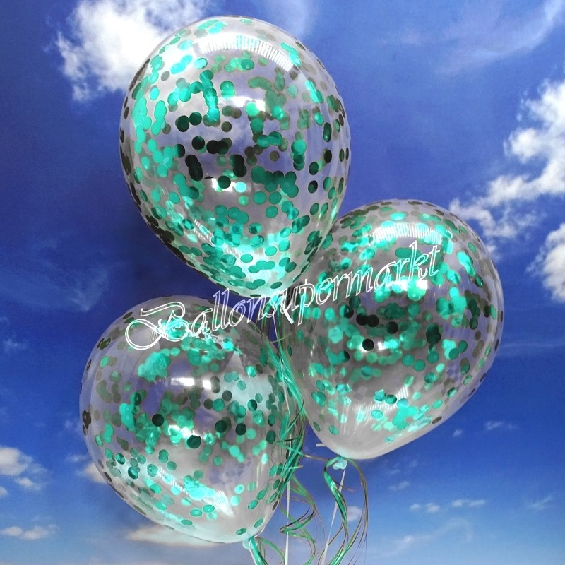 ballonsupermarkt jumbo konfetti ballons transparent gef llt mit konfetti in t rkis. Black Bedroom Furniture Sets. Home Design Ideas