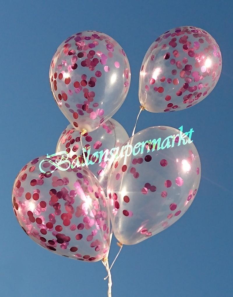 ballonsupermarkt konfetti ballons transparent gef llt mit konfetti in pink. Black Bedroom Furniture Sets. Home Design Ideas