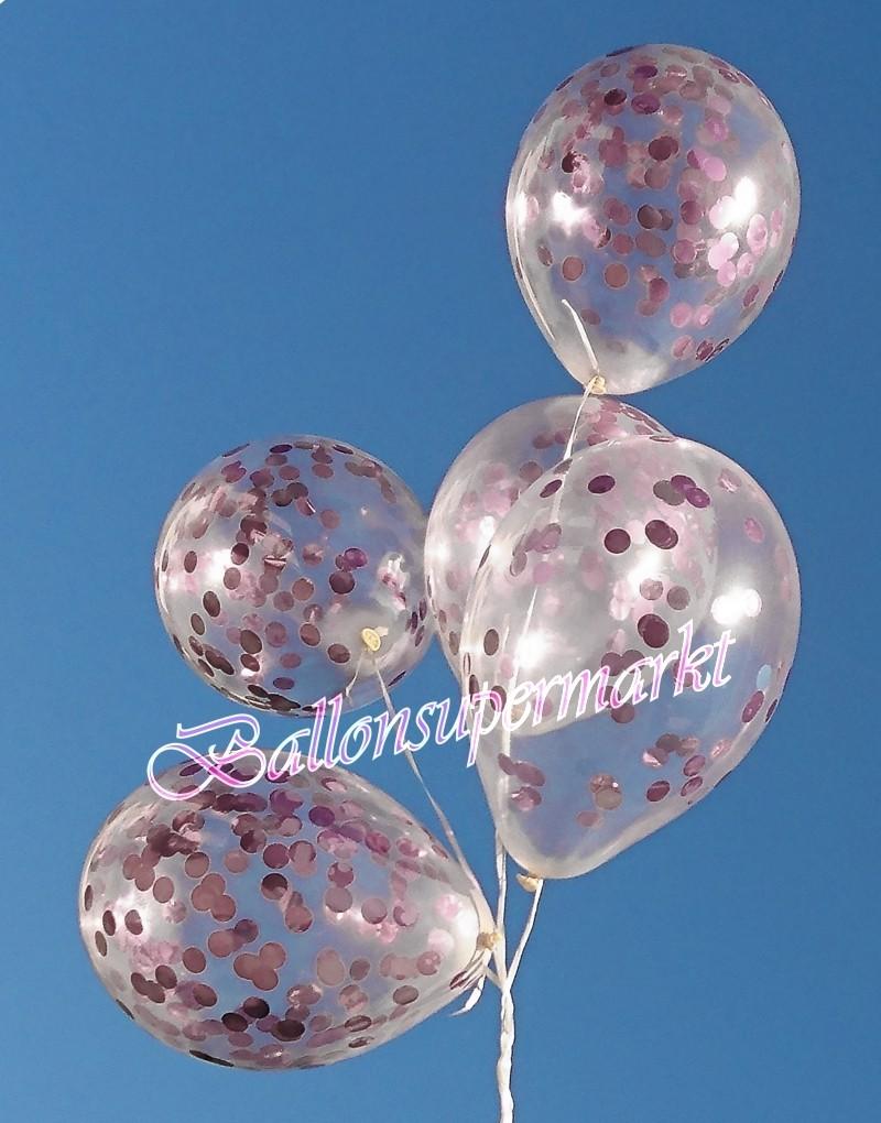 ballonsupermarkt konfetti ballons transparent gef llt mit konfetti in rosa. Black Bedroom Furniture Sets. Home Design Ideas