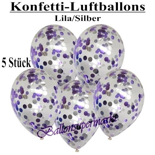 konfetti ballons transparent gef llt mit konfetti in flieder und silber ballonsupermarkt. Black Bedroom Furniture Sets. Home Design Ideas