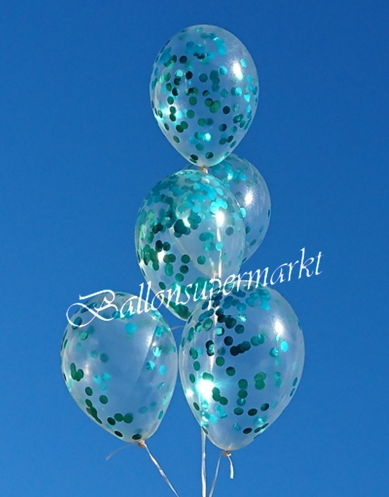 ballonsupermarkt konfetti ballons latex 30 cm 5 st ck transparent gef llt. Black Bedroom Furniture Sets. Home Design Ideas