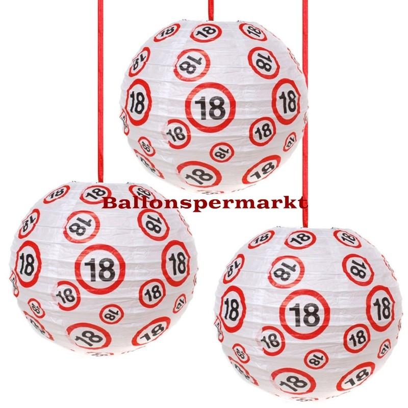 Ballonsupermarkt lampions verkehrsschild for 18 geburtstag dekoration set