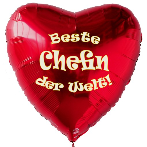 Beste Chefin Der Welt Roter Herzluftballon Aus Folie Mit Ballongas