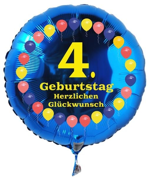 folienballon zum 4 geburtstag balloons blau. Black Bedroom Furniture Sets. Home Design Ideas